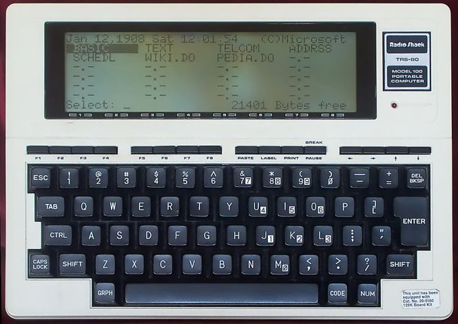 Heim wrote Electric Language on a portable Tandy 100.
